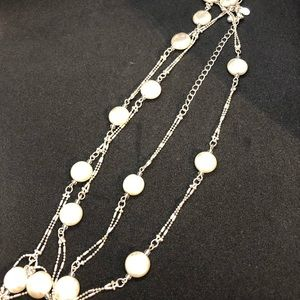 "20"" premiere design silver and pearl necklace."